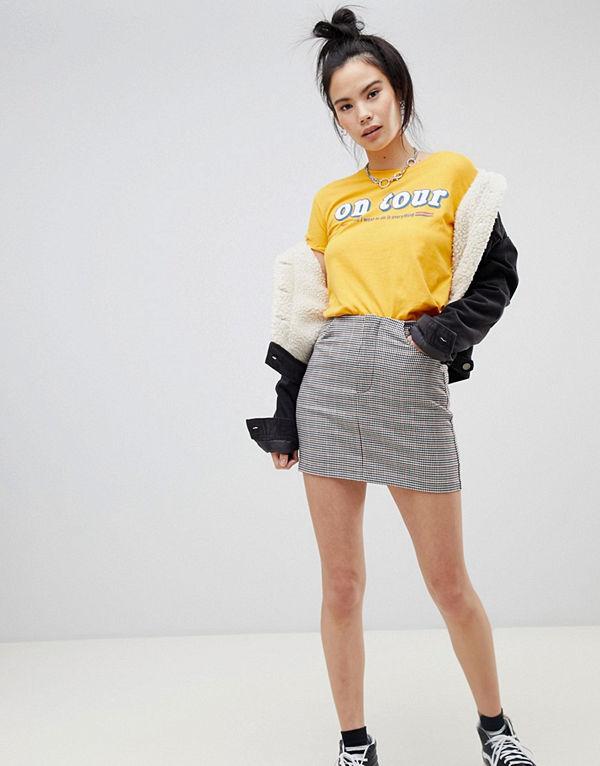 Pull&Bear Minikjol med drakgedja fram Multi check