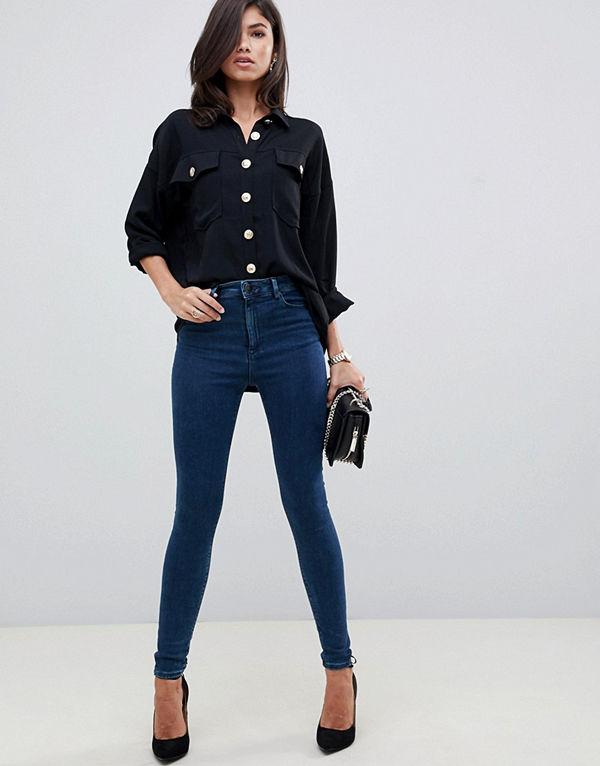 ASOS DESIGN Ridley Mörkblå skinny jeans med hög midja Mörkt blågröna