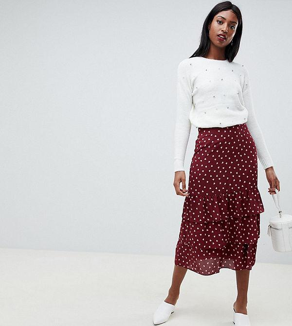 Fashion Union Tall Hjärtmönstrad midikjol Vinröd hjärta