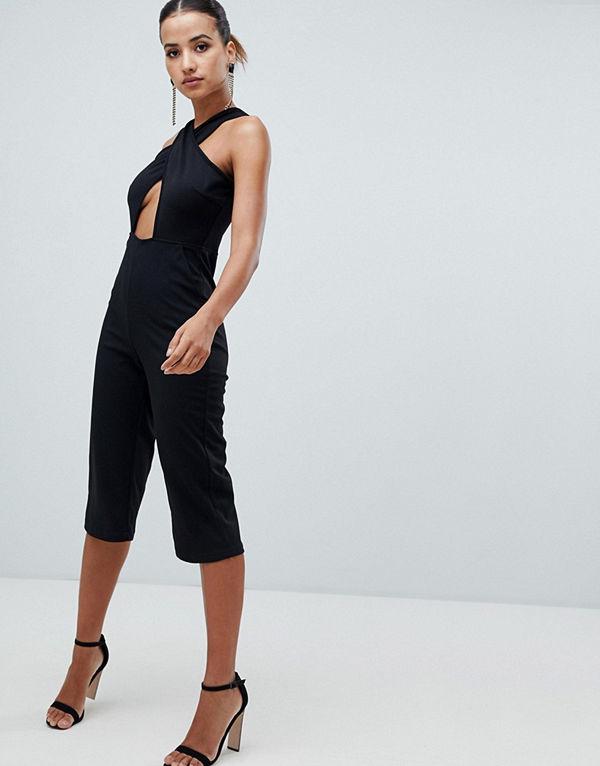 Ax Paris Jumpsuit med raka ben och korsande band på framsidan