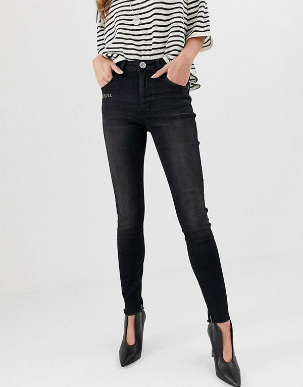 One Teaspoon Freebird Skinny jeans med hög midja Jett black