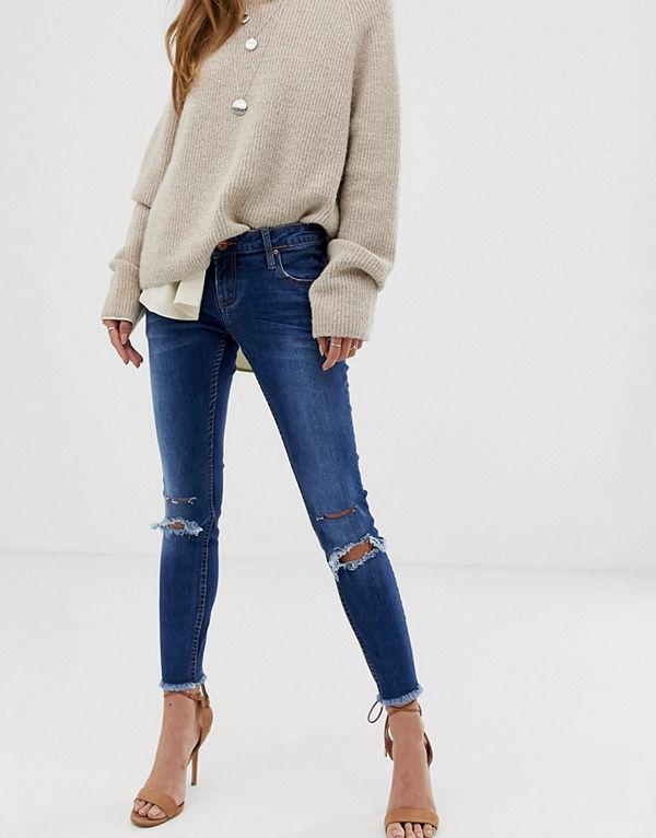 One Teaspoon Freebird Skinny jeans med slitna detaljer Bonnie blue