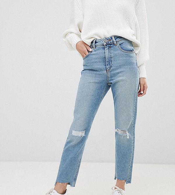 ASOS Petite Farleigh Ljusblå vintagetvättade slim mom jeans med hög midja och revor på knäna Ljus sten