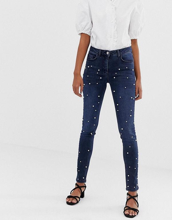 Soaked in Luxury Jeans med pärlutsmyckning Mörkblå