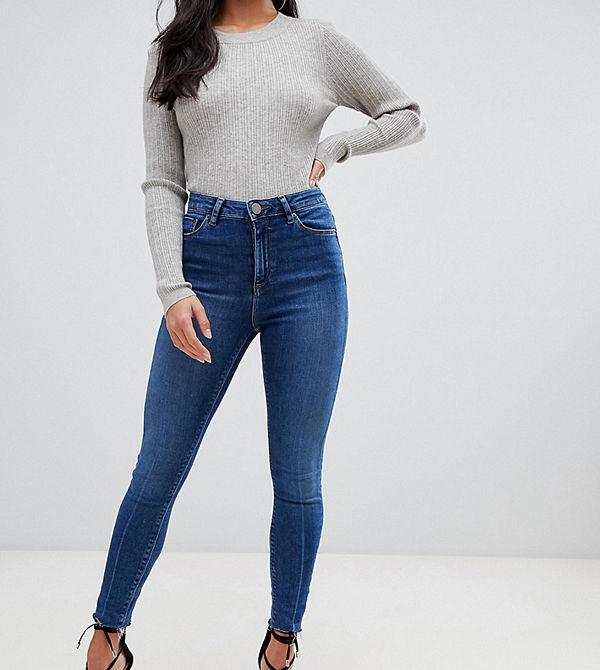 ASOS Petite Ridley Mörkblå stentvättade skinny jeans med hög midja och råskuren fåll Mörkt stenfärgad