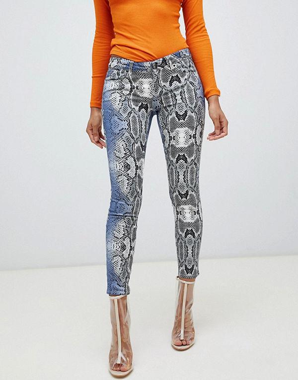 ASOS DESIGN Whitby Ormskinnsmönstrade skinny jeans med låg midja