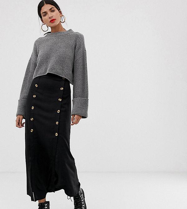 Vero Moda Tall Svart midikjol med dubbel slits och knappar