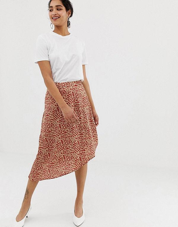 Vila Leopardmönstrad kjol i satin