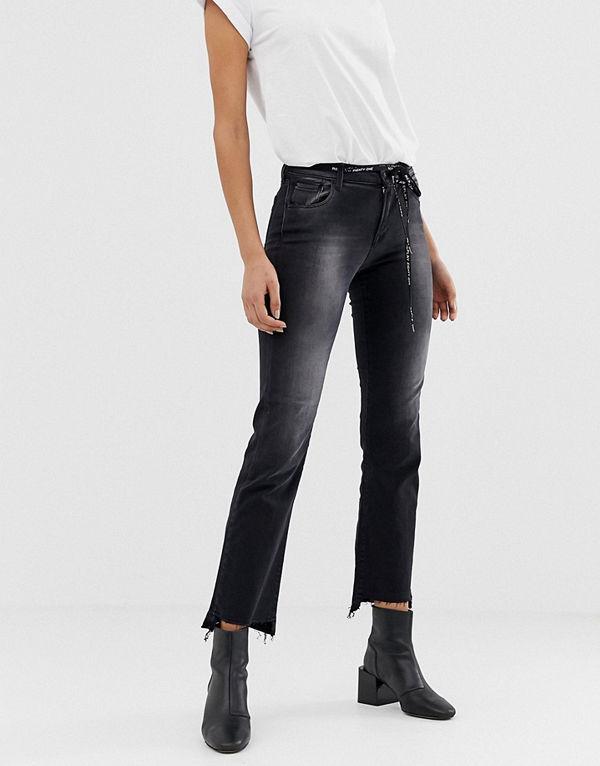 Replay Touch Svarta jeans med hög midja och smal passform