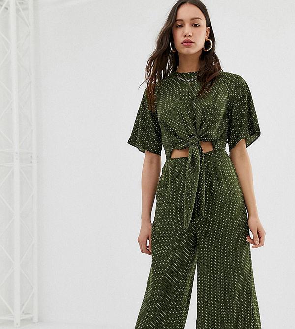 Glamorous Tall Prickig jumpsuit i avslappnad modell med knytband framtill Skogsgrön