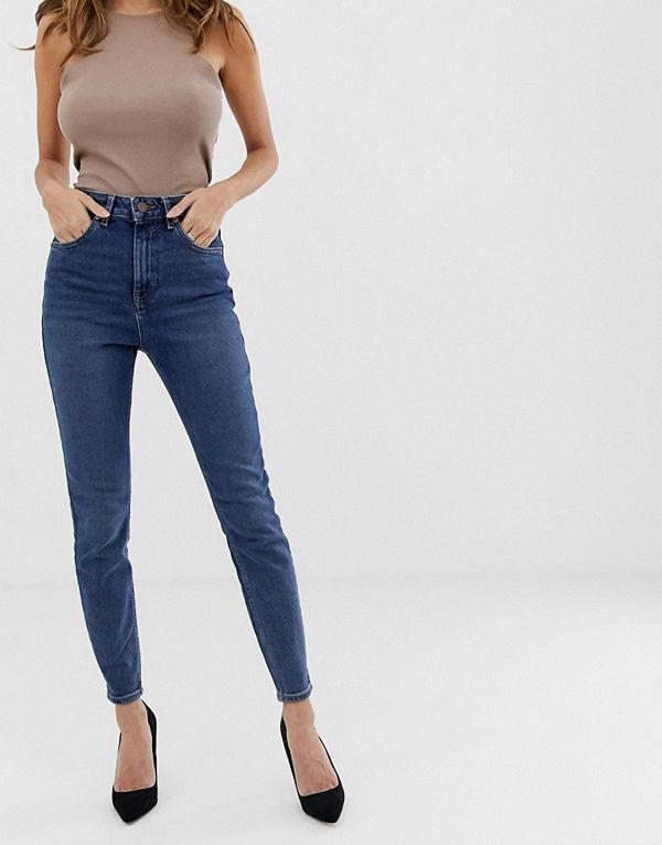 ASOS DESIGN Mellanblå stentvättade skinny jeans i återvunnet material med superhög midja Blå stentvätt