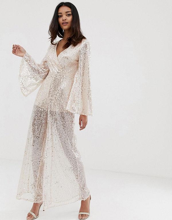 The Girlcode Rosa jumpsuit i kimonomodell med paljetter och vida ben