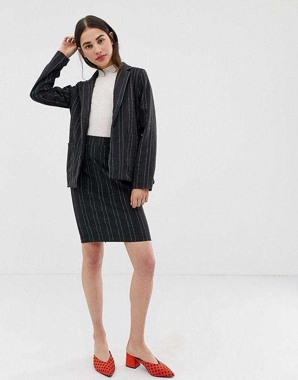 Ichi Kritstrecksrandig kjol Mörgrå