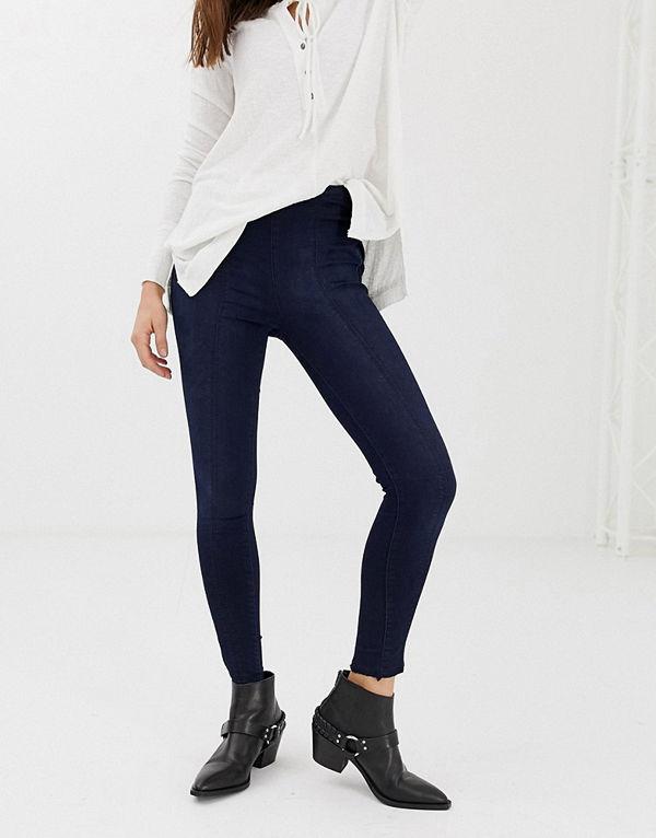 Free People Skinny jeans med markerad söm Mörk denim