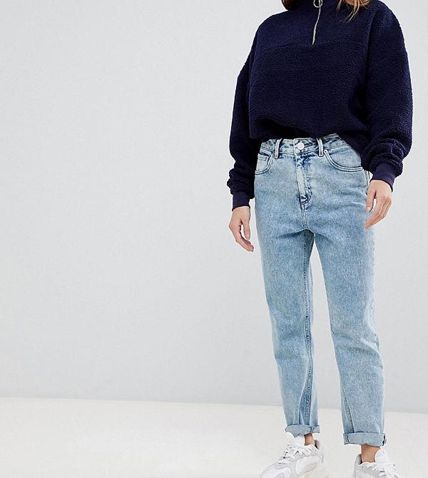 ASOS Petite Farleigh slim mom jeans med hög midja i stentvättad 80-talslook Tvättad vintagelook