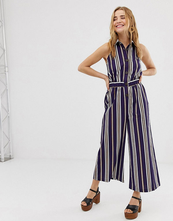 ASOS DESIGN Randig jumpsuit i culotte-modell med krage och knäppning framtill Rand
