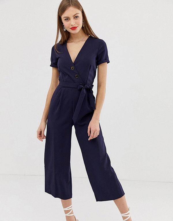 Oasis Marinblå jumpsuit med skärp