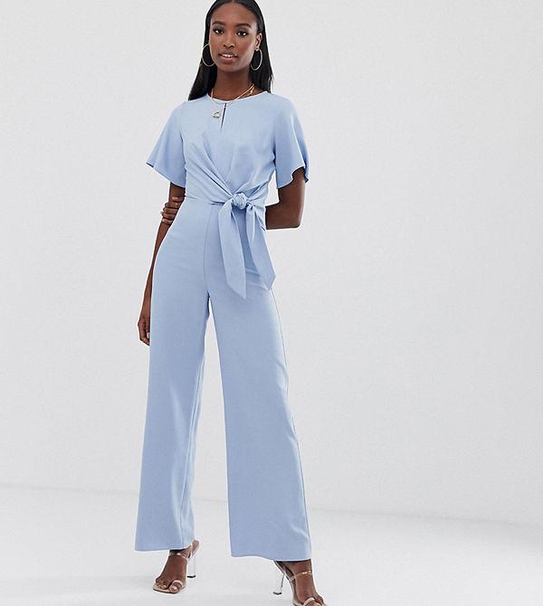 Missguided Tall Blå jumpsuit med knytdetalj