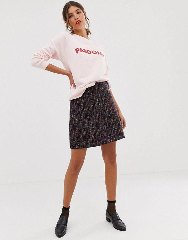 Oasis Flerfärgad a-linjeformad kjol i tweed