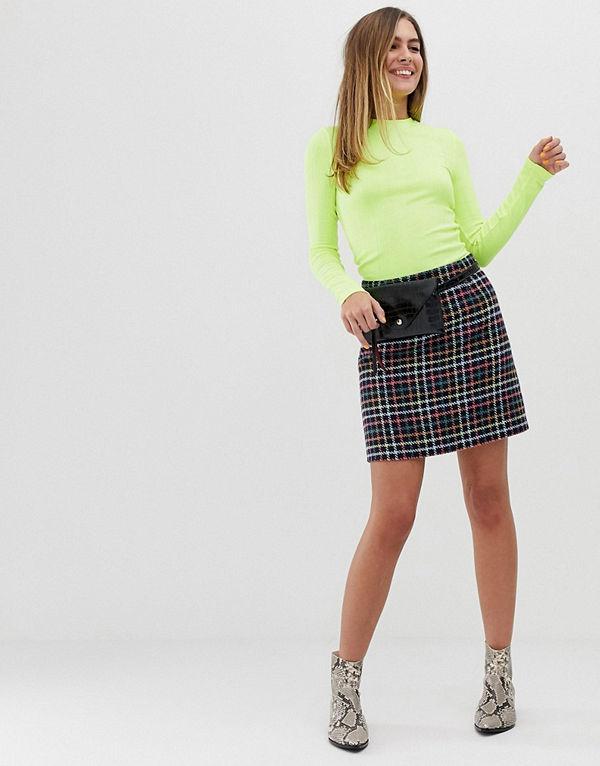 New Look Rutig minikjol Svart mönster