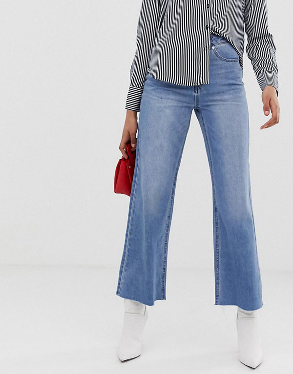 Vero Moda Wide leg jeans med hög midja Ljusblå