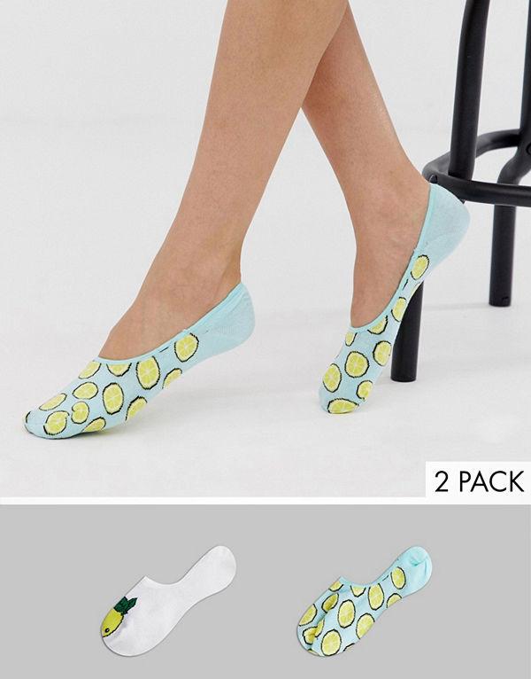 Sock Shop Wild Feet Lemons Invisible footsie 2-pack gula strumpor