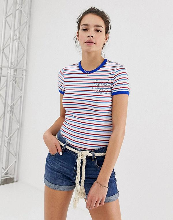 Superdry Uppvikta jeansshorts Mörkblå