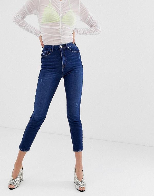 River Island Mörkblå skinny jeans Mörk färg