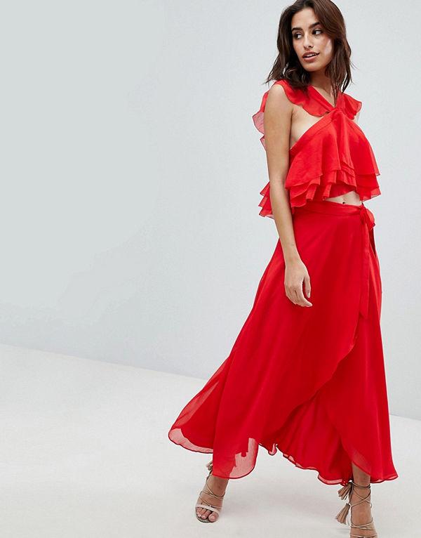 The Jetset Diaries Sintra Omlottkjol i midilängd med rynkning Crimson röd