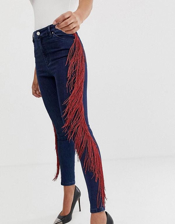 ASOS DESIGN Mörktvättade skinny jeans med hög midja och fransar på sidorna Mörkblå