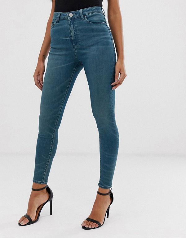 ASOS DESIGN Ridley Londonblå skinny jeans med hög midja