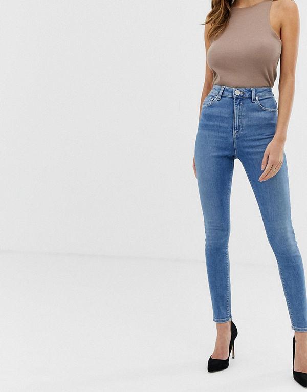 ASOS DESIGN Ridley Mellanblå stentvättade skinny jeans med hög midja Snyggt stentvättat i blått