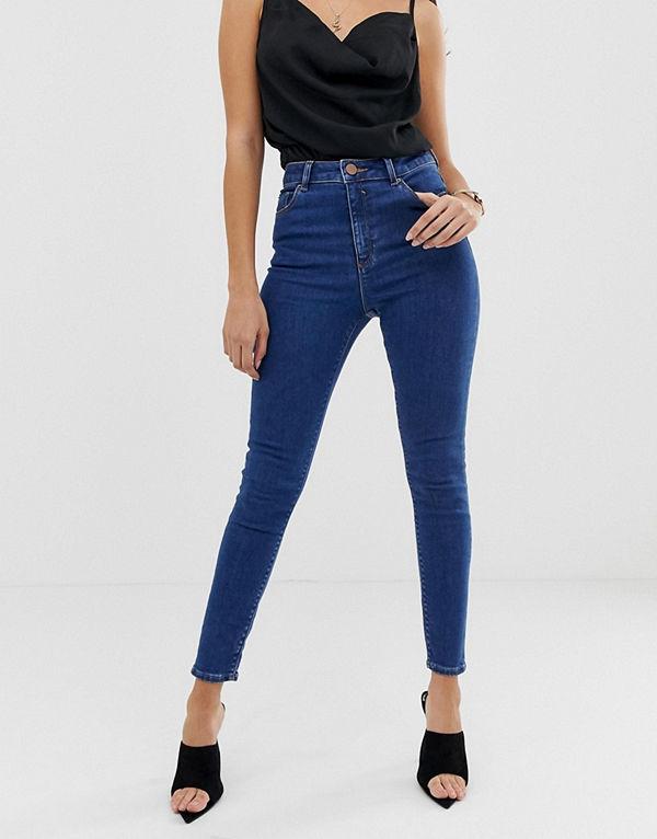 ASOS DESIGN Ridley Mellanblå skinny jeans med hög midja Mellanblå