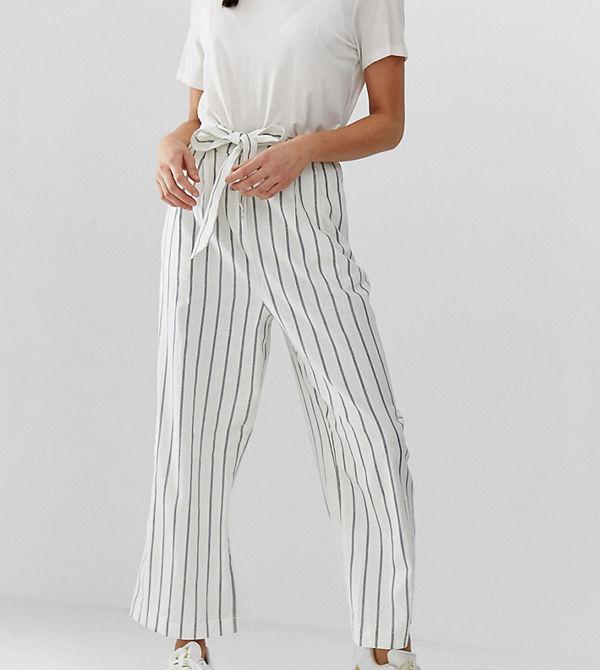 Asos Tall Randiga culotte-byxor i linne med knytning i midjan Rand