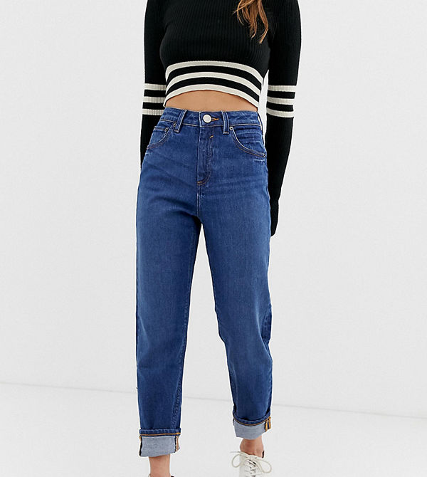 ASOS Petite Recycled Farleigh Mörktvättade slim mom jeans med hög midja Mörkblå