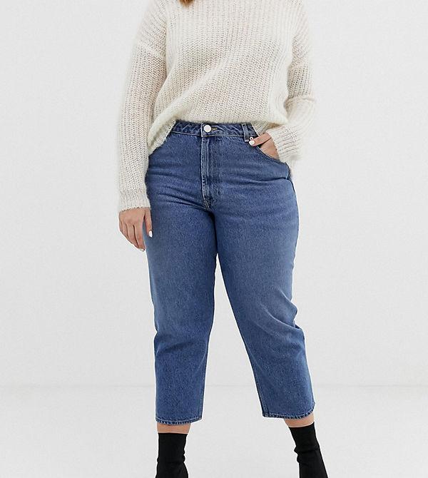 ASOS Curve Recycled Florence Authentic Vintageblå straight jeans Mellanblå vintage