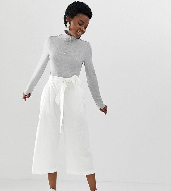 ASOS Petite Culotte-byxor i linne med knytskärp