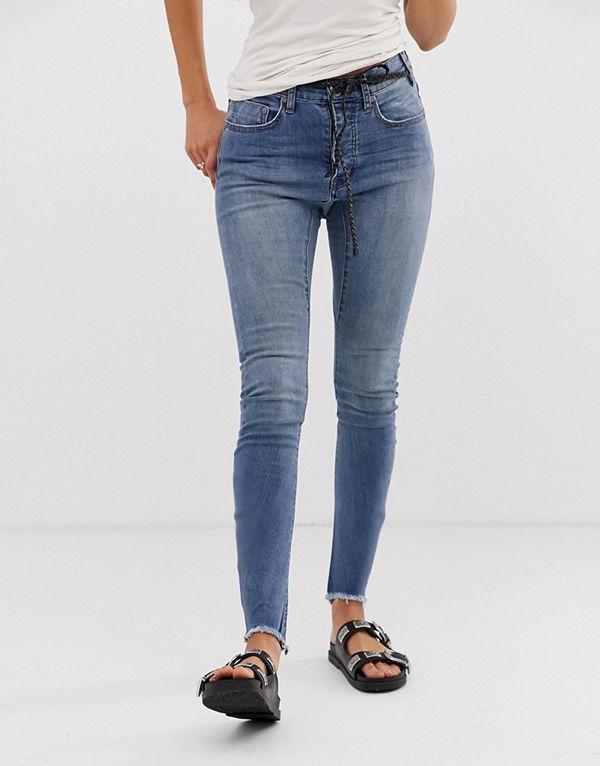 One Teaspoon Bite Me Skinny jeans med broderad text Blue blonde