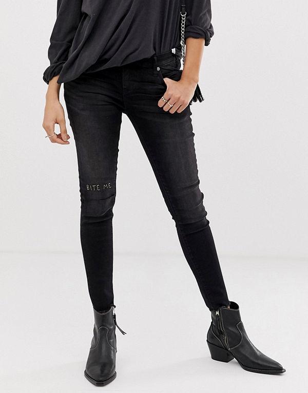 One Teaspoon Freebirds Skinny jeans med slitna knän Jett black