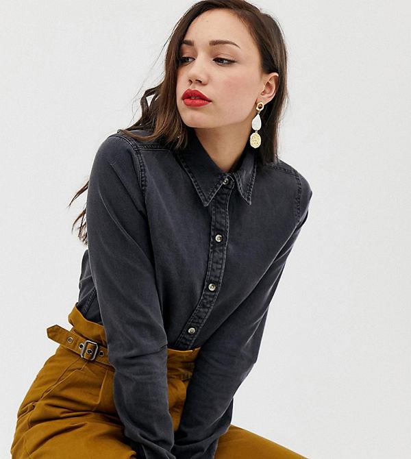 Asos Tall Lång Svart jeansskjorta i cowboy stil Tvättad svart