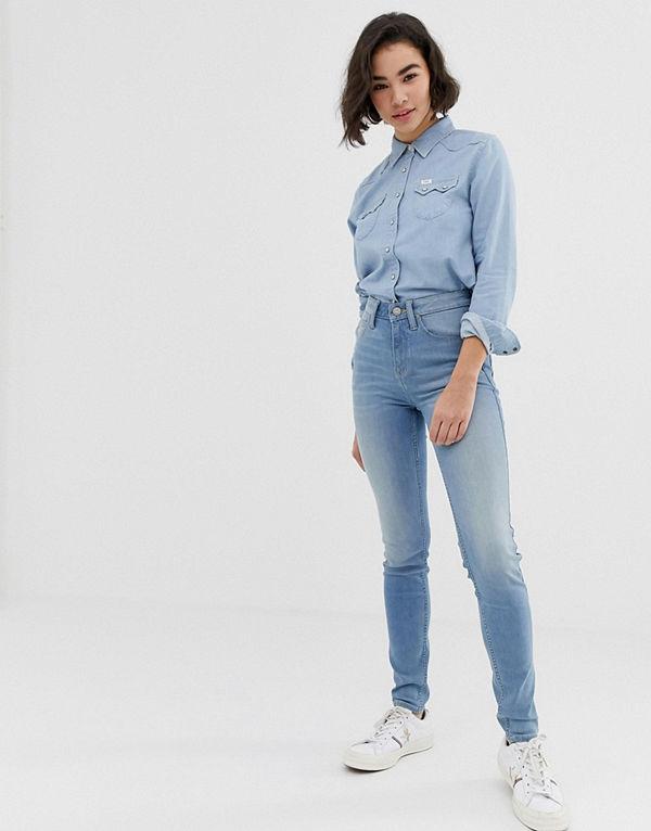 Lee Jeans Lee Scarlett Skinny jeans med hög midja Lätt slitna