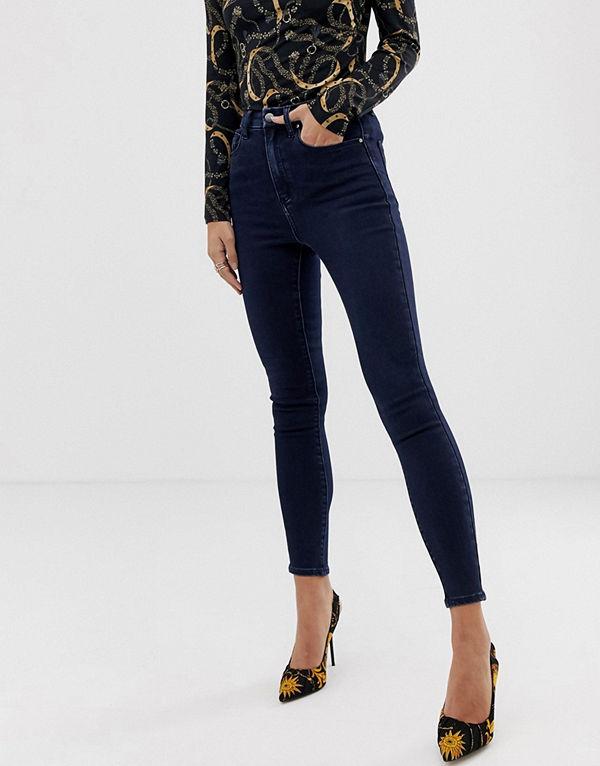 ASOS DESIGN 'Sculpt me' Förstklassiga blåsvarta jeans med hög midja Blåsvart