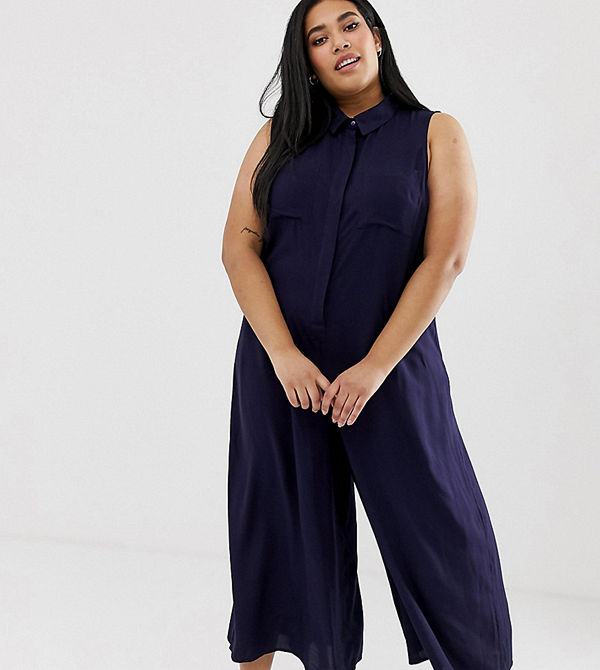 ASOS Curve Casual jumpsuit i culottemodell Marinblå