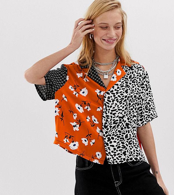 Collusion Skjorta med fritidskrage och blandat mönster Flerfärgad