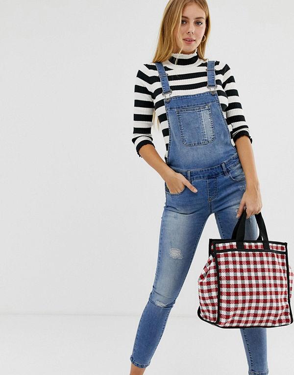 Only Kim Witty Slitna hängselbyxor i denim Jeansblå