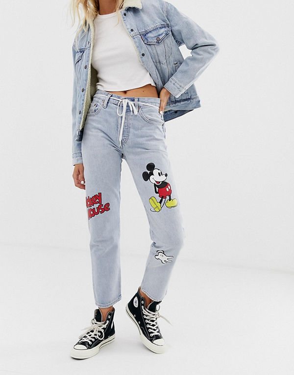 Levi's X Mickey Mouse 501 Ankellånga jeans Cat and mouse