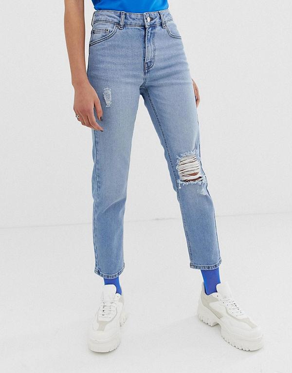 Dr. Denim Edie Ankellånga mom jeans med slitna detaljer Ljusblå