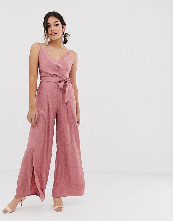 Miss Selfridge Rosa jumpsuit i omlottmodell