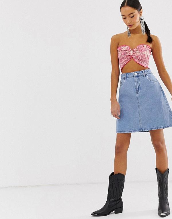 Only A-linjeformad jeanskjol i minimodell Ljusblå