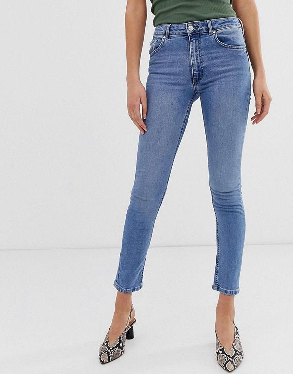 Warehouse Skulpterande skinny jeans med hög midja Ljustvättad denim